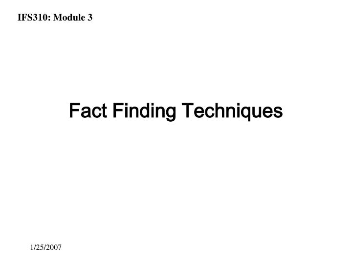 fact finding techniques n.
