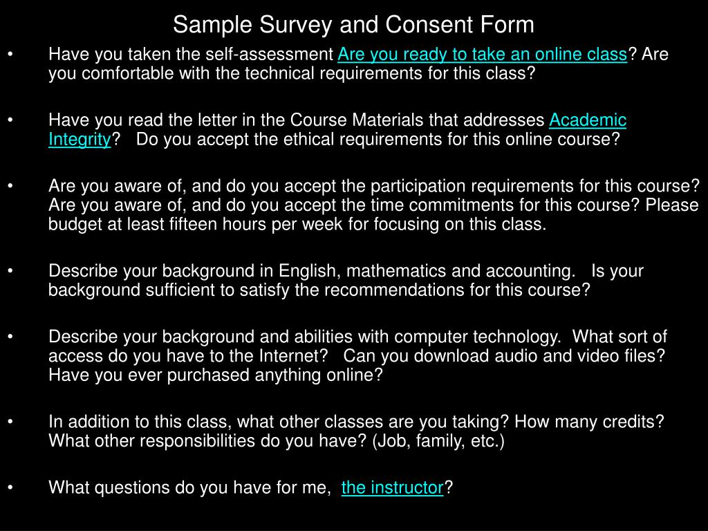 Sample Survey and Consent Form