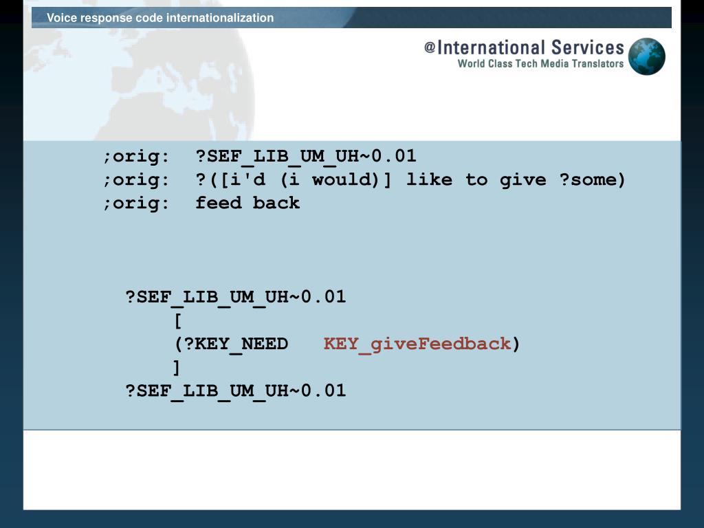 Voice response code internationalization