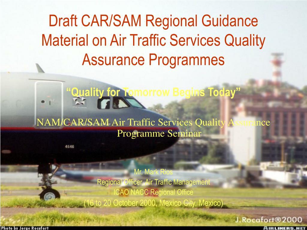 draft car sam regional guidance material on air traffic services quality assurance programmes l.
