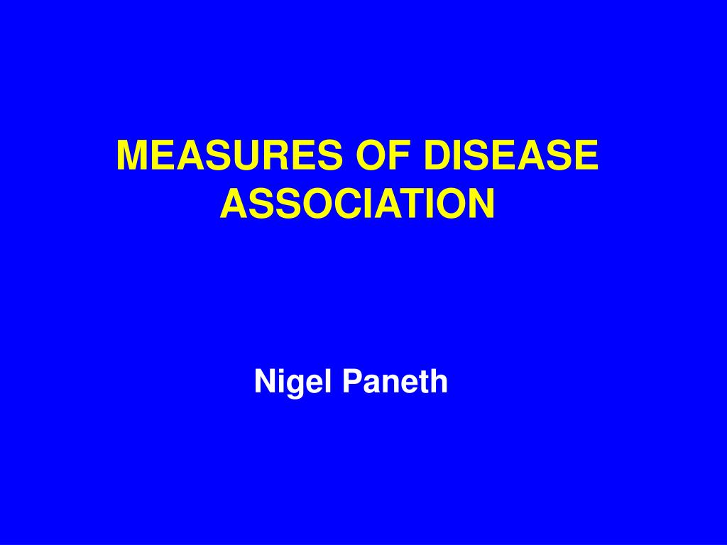 measures of disease association l.