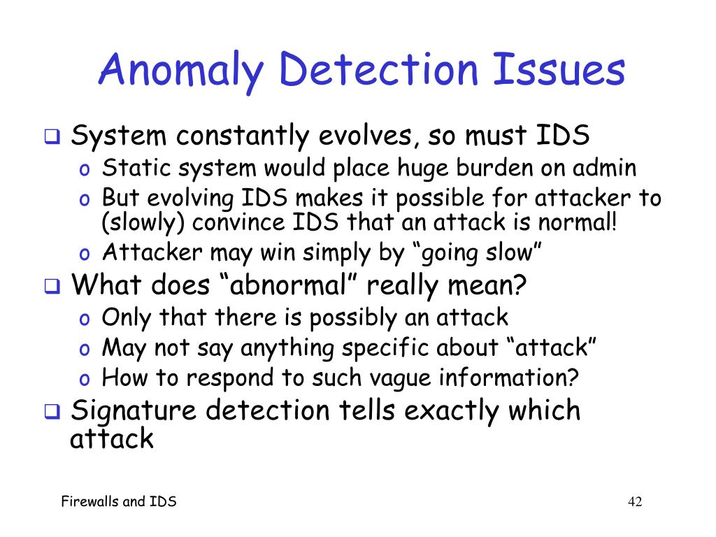 Anomaly Detection Issues