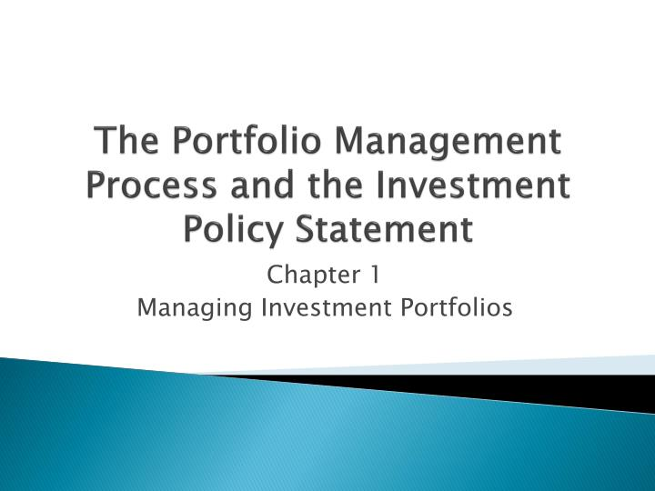 Ppt  The Portfolio Management Process And The Investment Policy