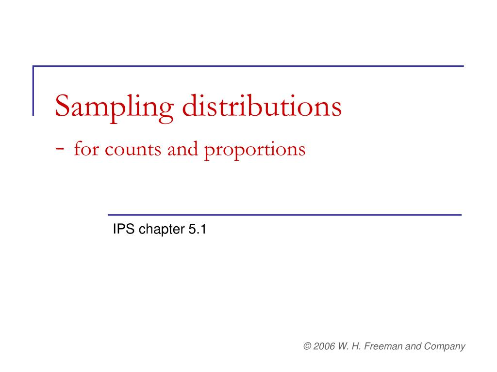 sampling distributions for counts and proportions l.