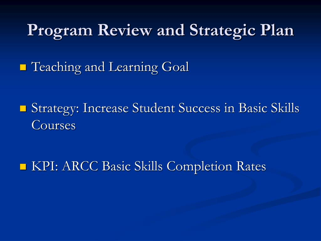 Program Review and Strategic Plan
