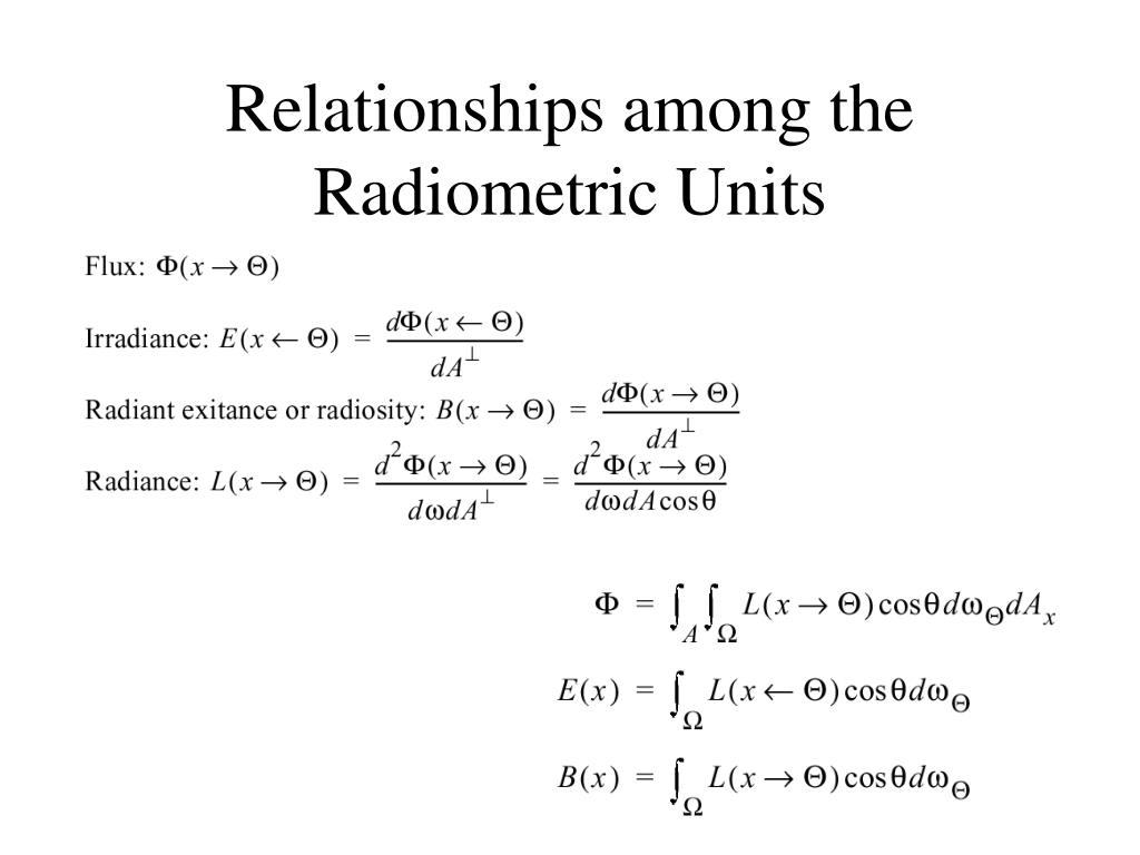 Relationships among the Radiometric Units