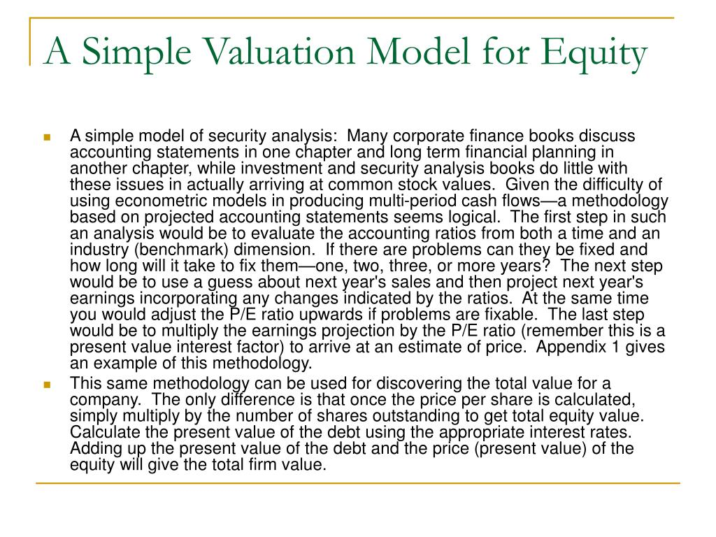 A Simple Valuation Model for Equity