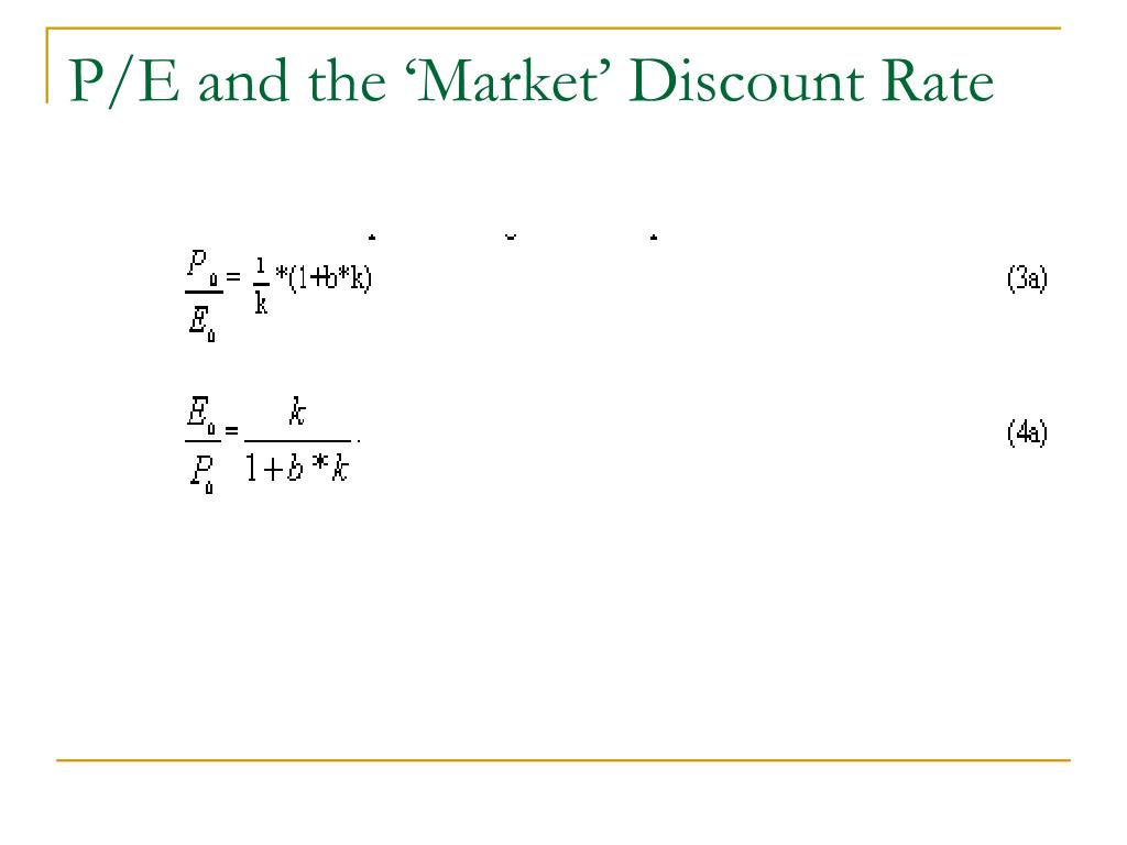 P/E and the 'Market' Discount Rate