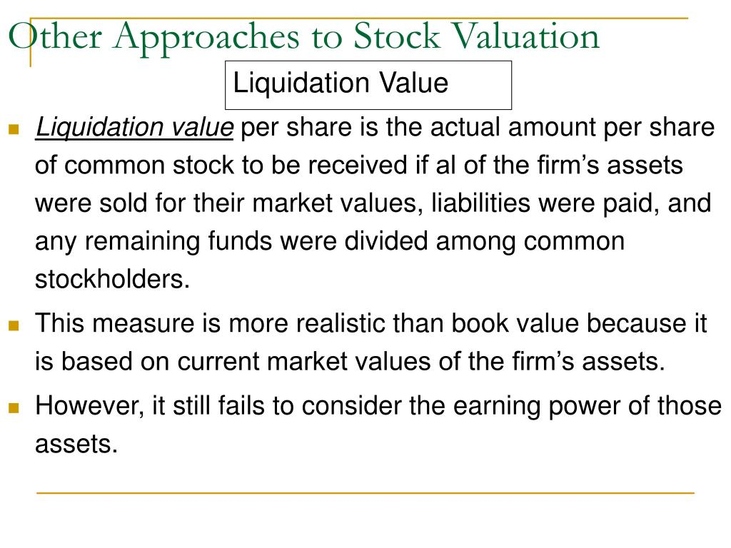 Other Approaches to Stock Valuation