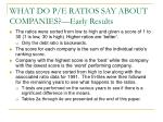 what do p e ratios say about companies early results39