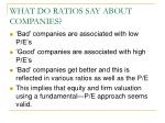 what do ratios say about companies