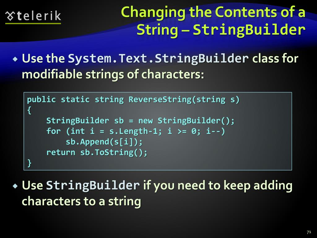 Changing the Contents of a String –