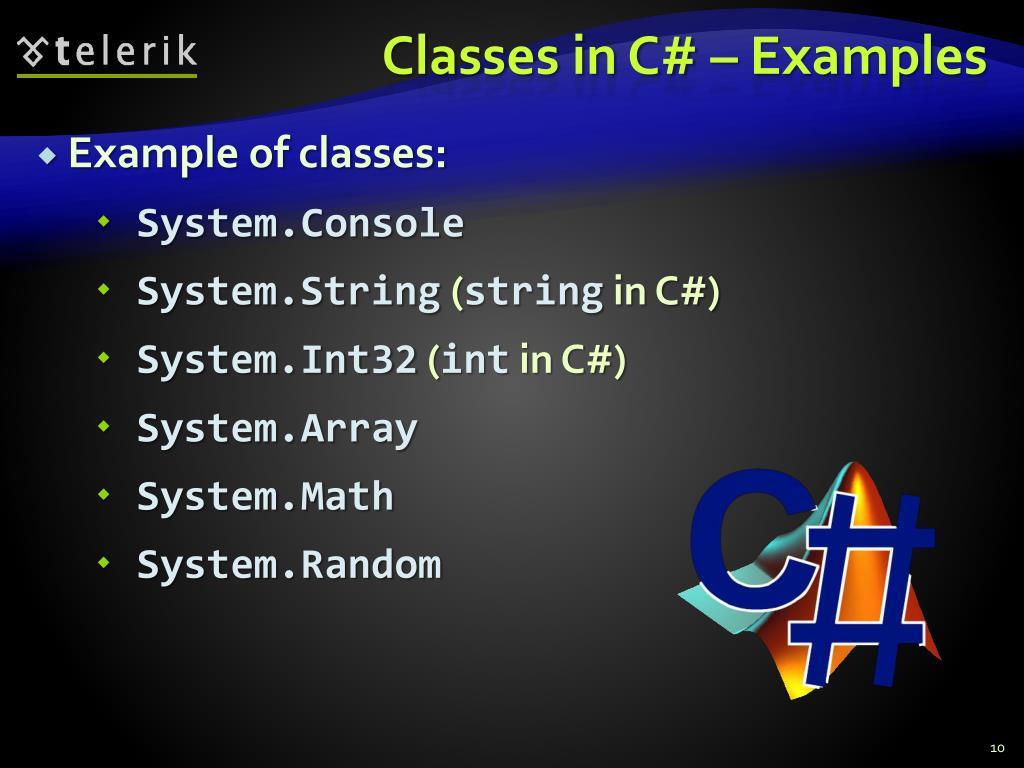 Classes in C# – Examples