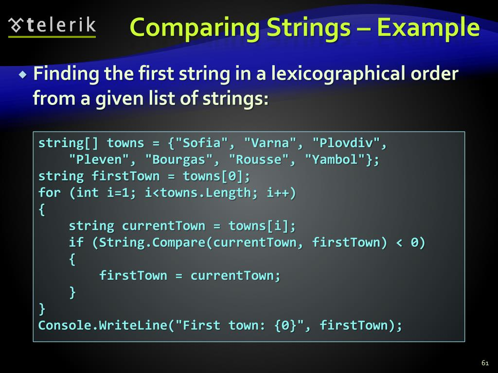 Comparing Strings – Example