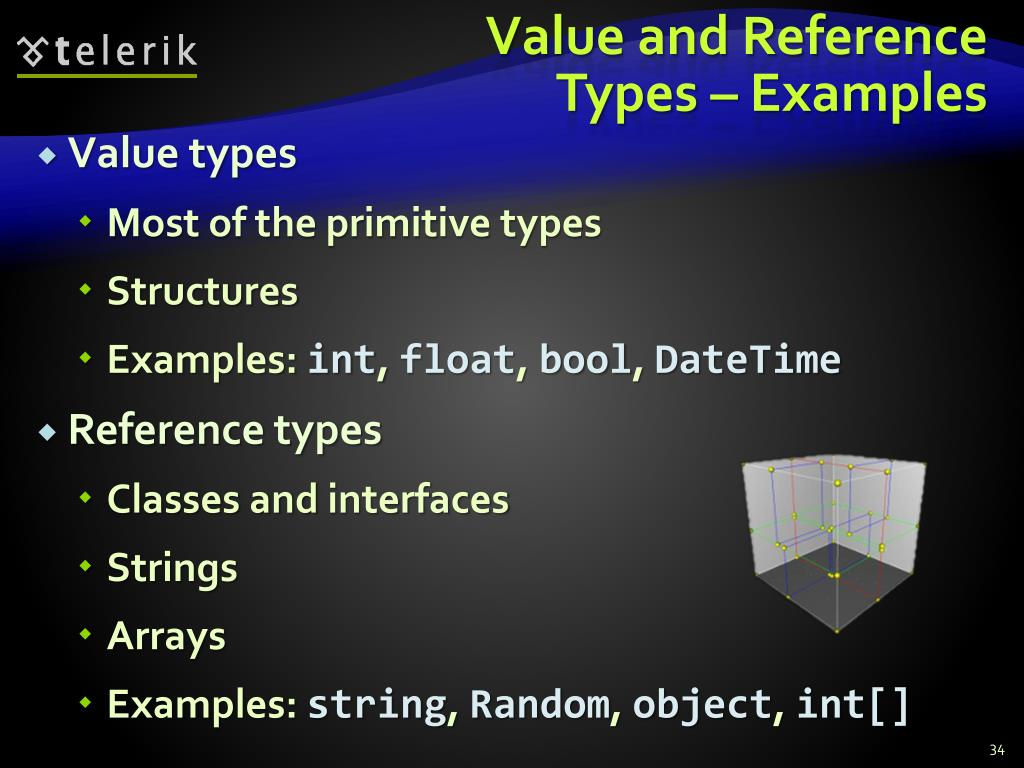 Value and Reference Types – Examples