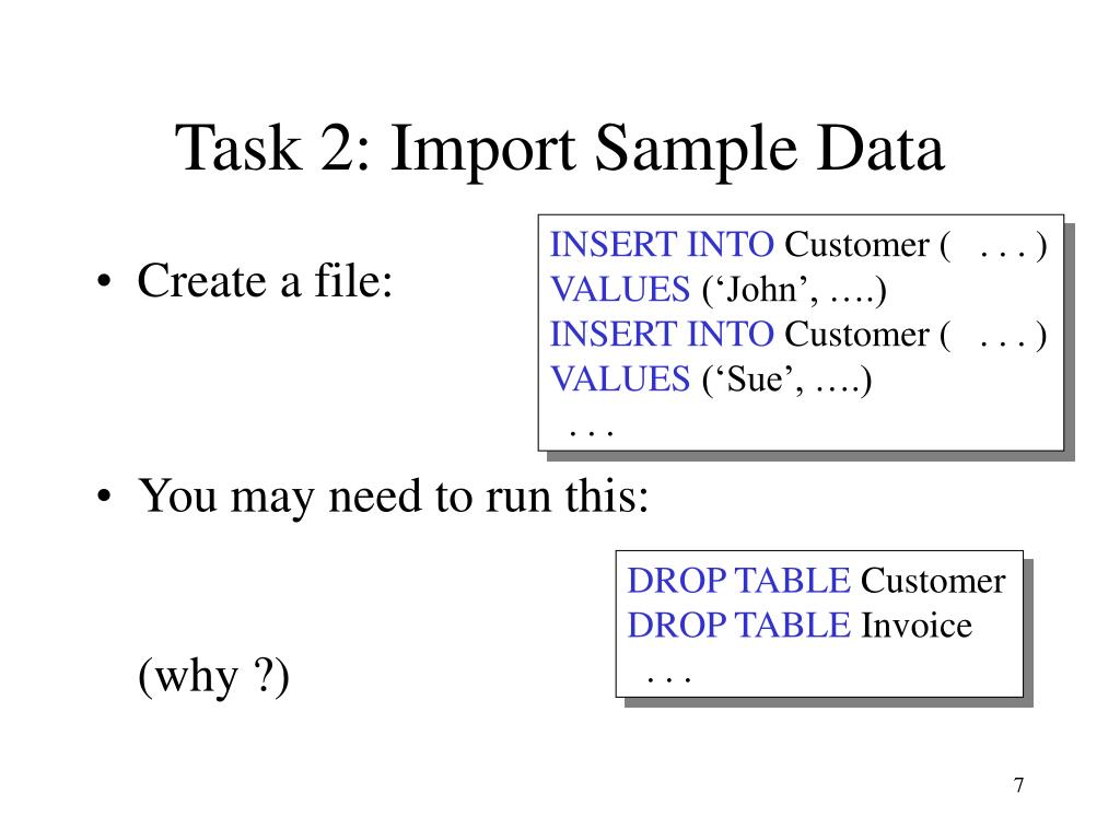 Task 2: Import Sample Data