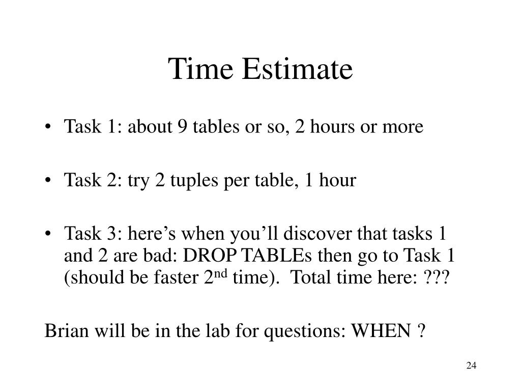 Time Estimate