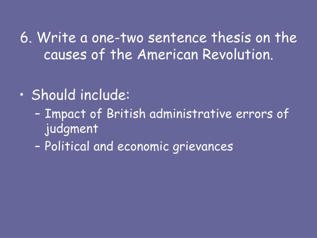 causes of american revolution in points