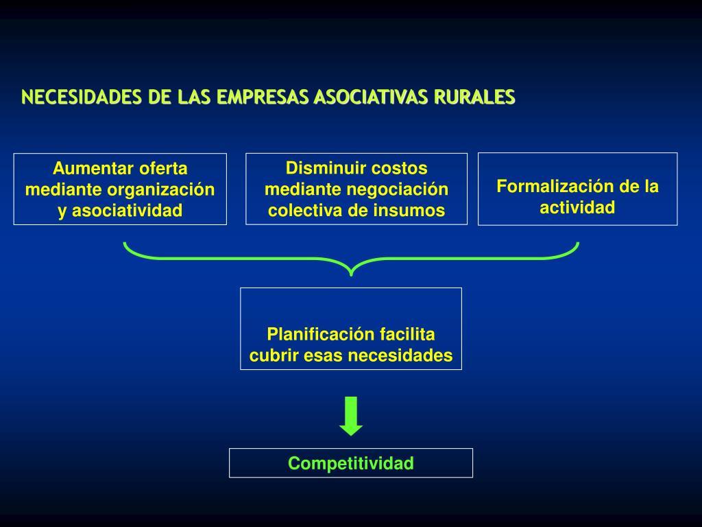 NECESIDADES DE LAS EMPRESAS ASOCIATIVAS RURALES