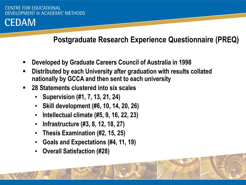 Postgraduate Research Experience Questionnaire (PREQ)