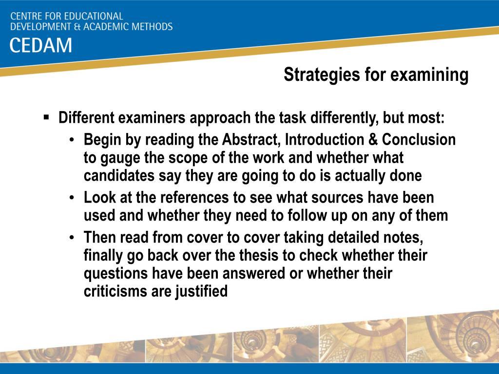 Strategies for examining