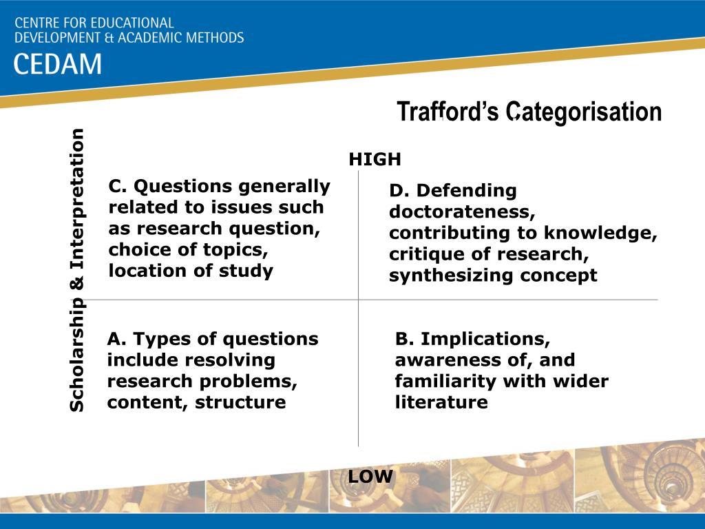 Trafford's Categorisation