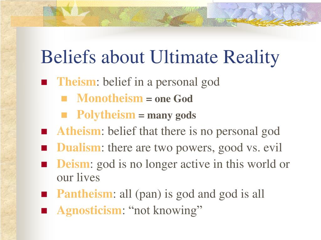 Beliefs about Ultimate Reality