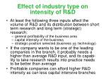 effect of industry type on intensity of r d