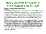 sitra s study of innovation in finland published in 199913