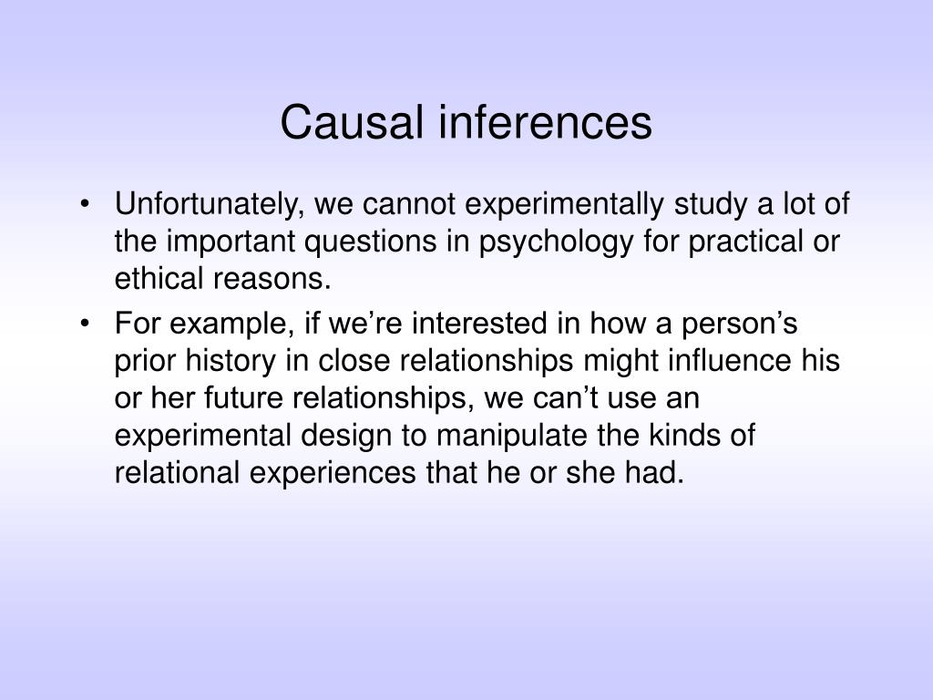 Causal inferences