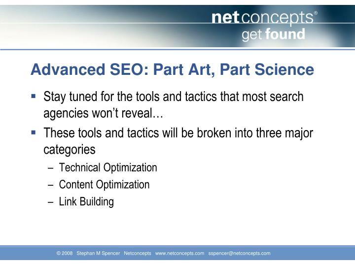 Advanced seo part art part science