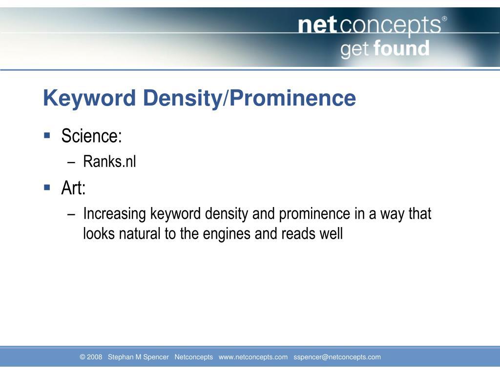 Keyword Density/Prominence