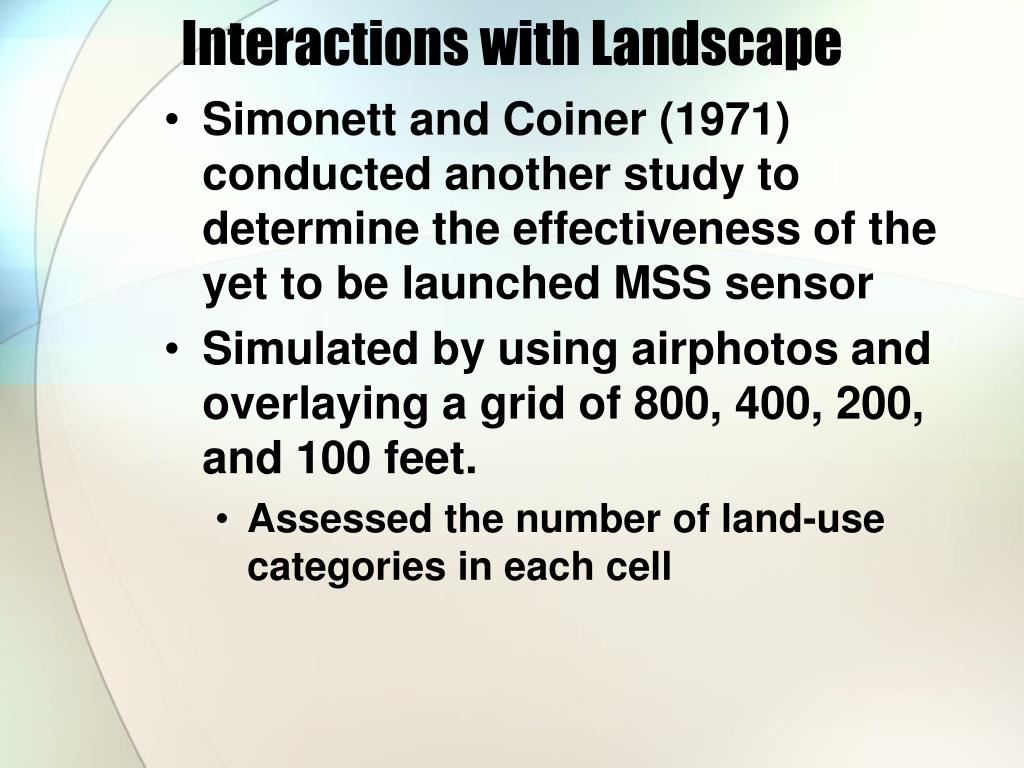 Interactions with Landscape