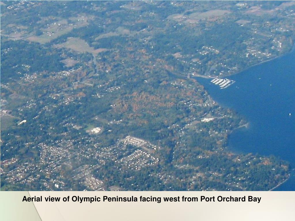 Aerial view of Olympic Peninsula facing west from Port Orchard Bay