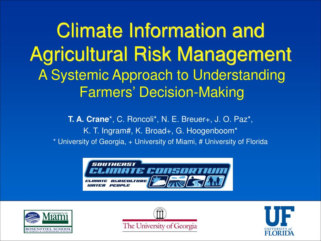 climate information and agricultural risk management l.