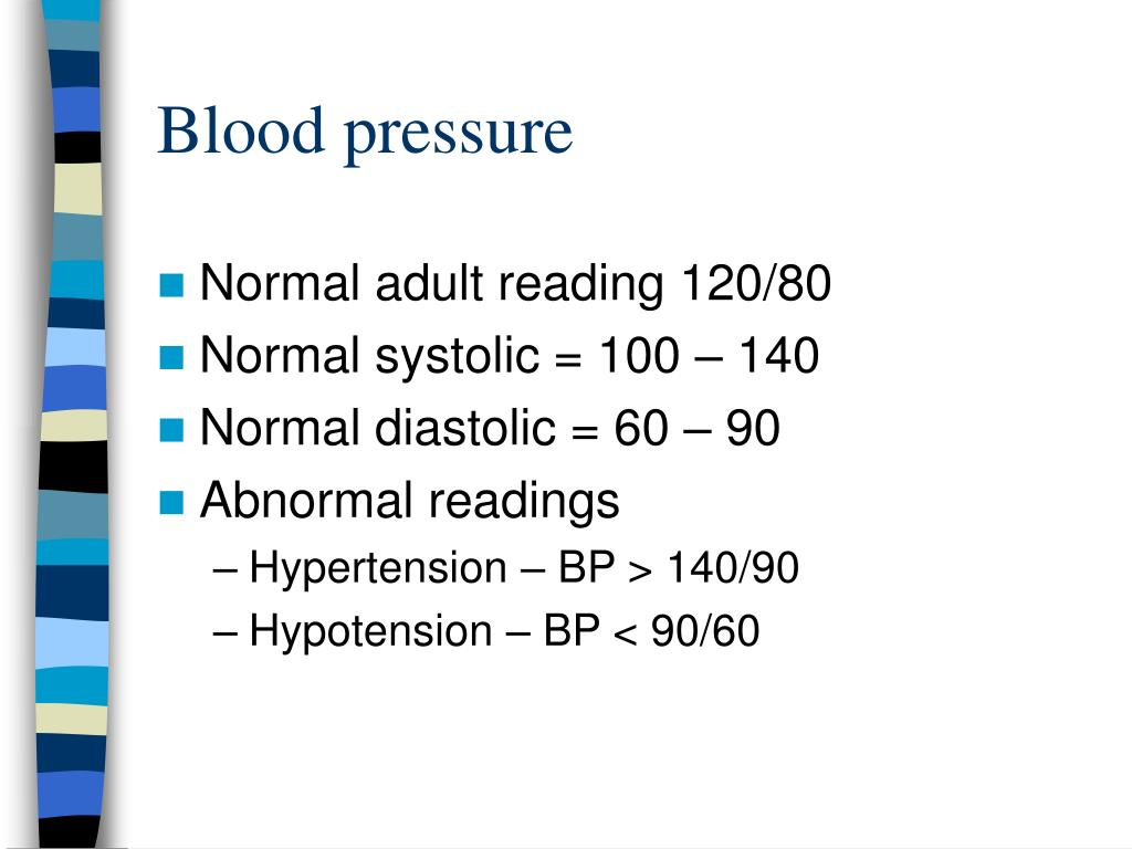 hypertension normal blood pressure 119/79 or lower is normal blood pressure 140/90 or higher is high blood pressure between 120 and 139 for the top number, or between 80 and 89 for the bottom number is called prehypertension prehypertension means you may end up with high blood pressure, unless you take steps to prevent it.