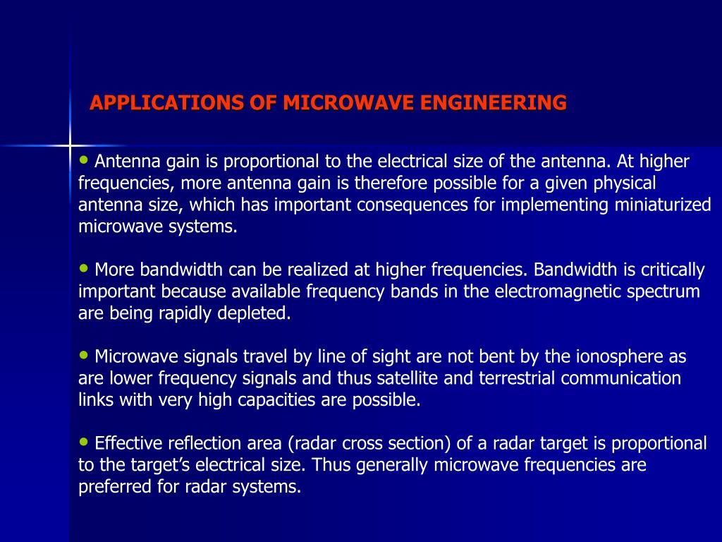 PPT - APPLICATIONS OF MICROWAVE ENGINEERING PowerPoint