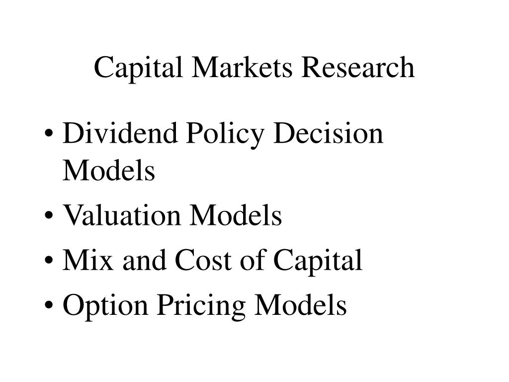 Capital Markets Research