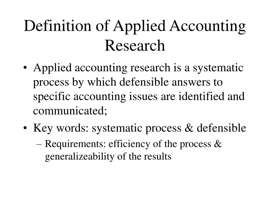 Definition of Applied Accounting Research