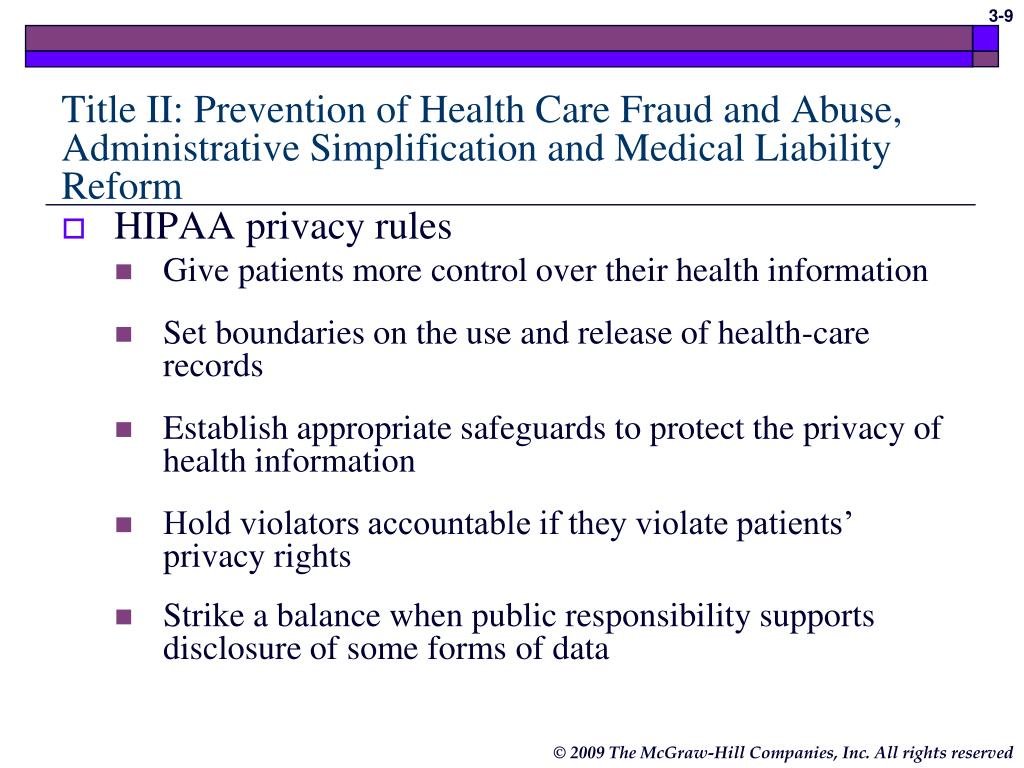 Title II: Prevention of Health Care Fraud and Abuse, Administrative Simplification and Medical Liability Reform