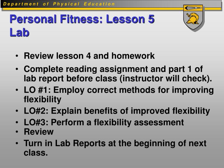 Personal fitness lesson 5 lab