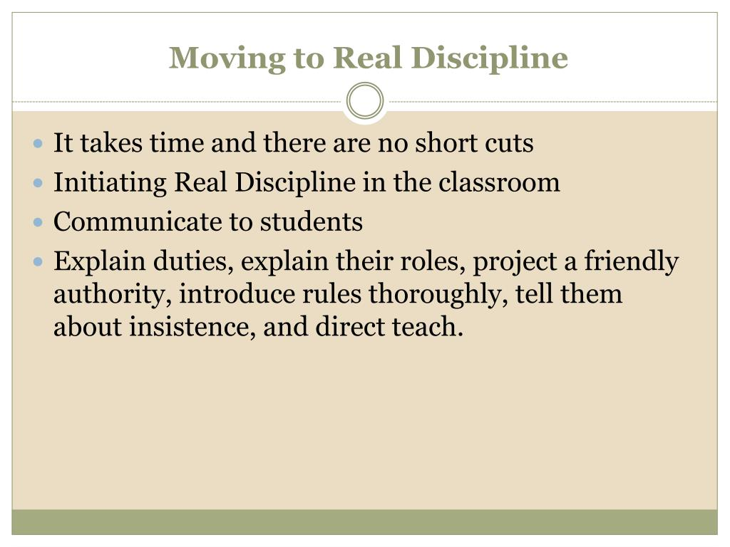 Moving to Real Discipline