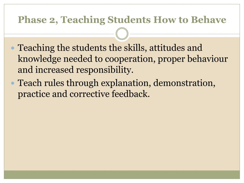 Phase 2, Teaching Students How to Behave