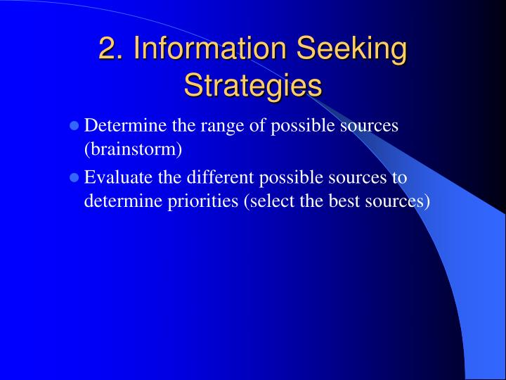 2 information seeking strategies