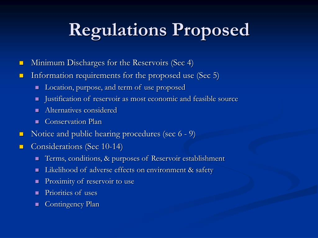 Regulations Proposed