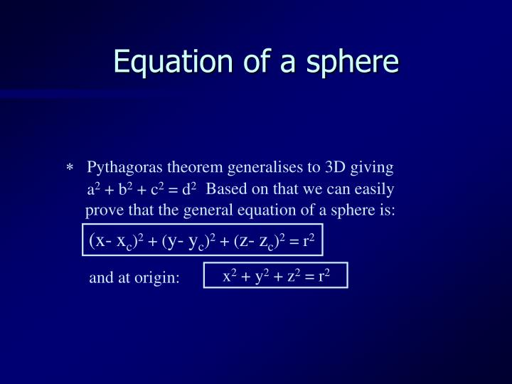 Equation of a sphere