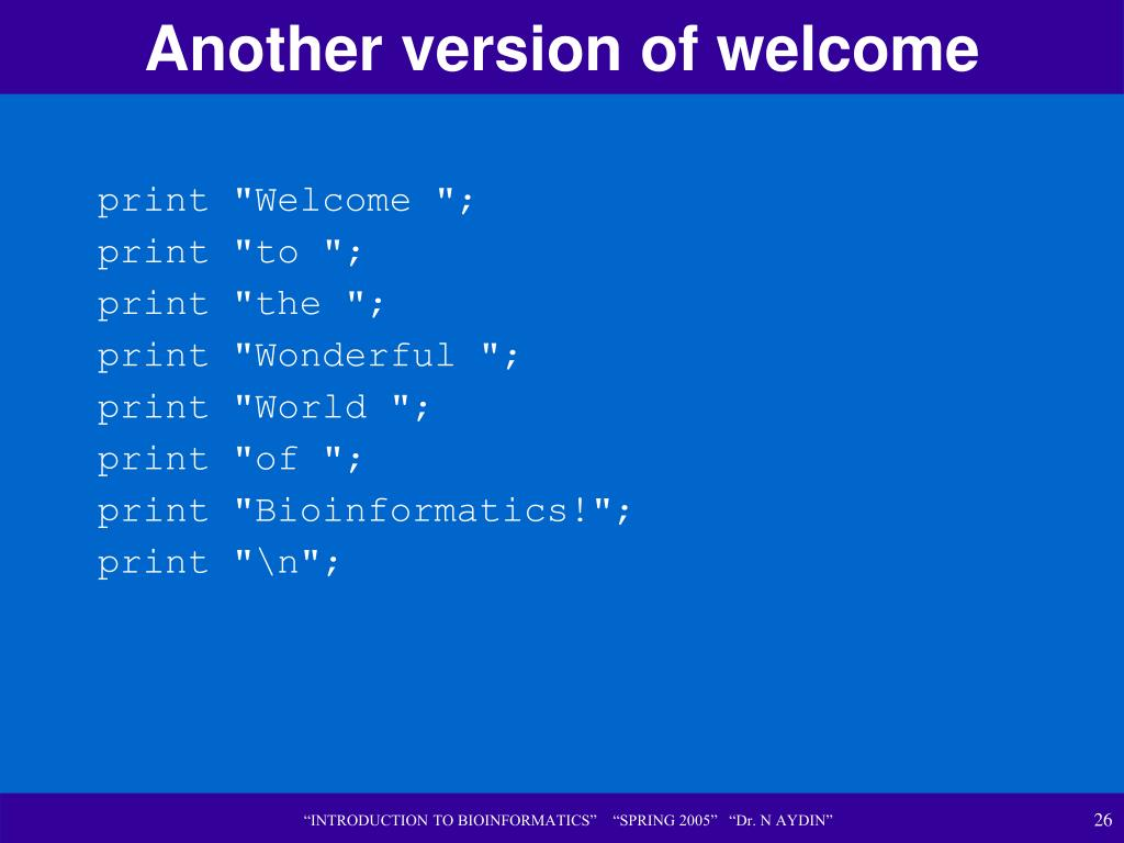 Another version of welcome