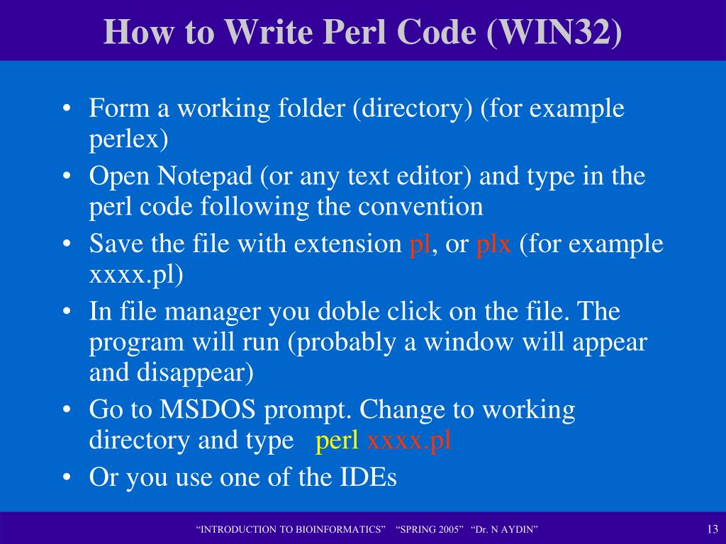 How to Write Perl Code (WIN32)