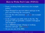 how to write perl code win32