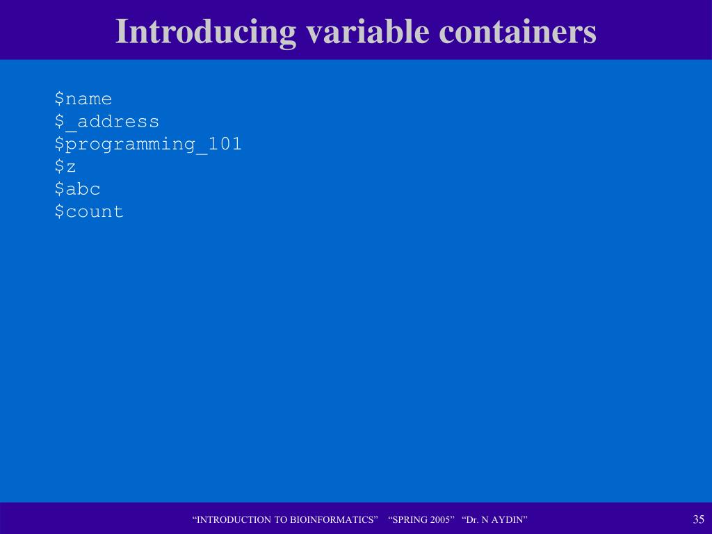 Introducing variable containers